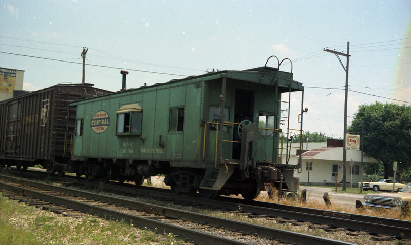 New York Central Caboose on a Penn-Central Freight Train at St. Jacob, IL.