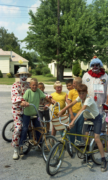 Children and Clowns in the parking lot of Hagnauer's Market in St. Jacob, IL.