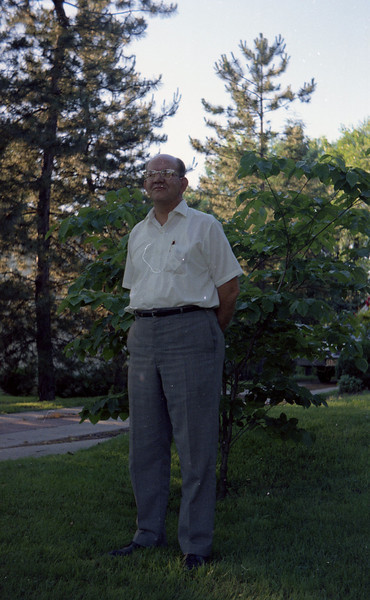 G. A. Shaffer, standing in the front yard at 304 East Market Street - Troy, IL.