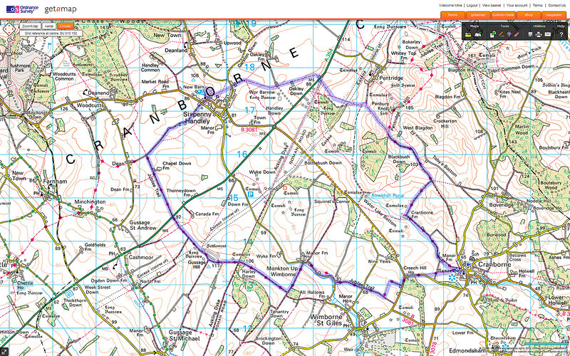 Today's route on an OS map