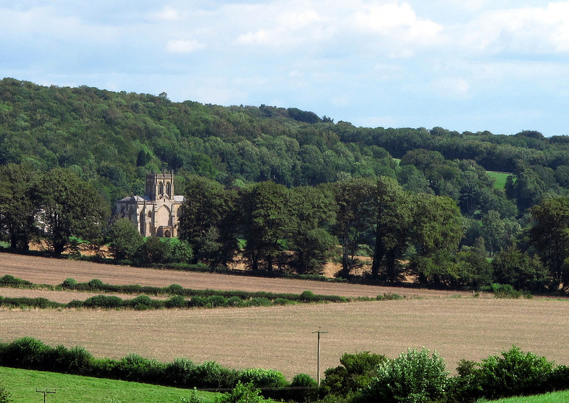 A distant view of Milton Abbey School.