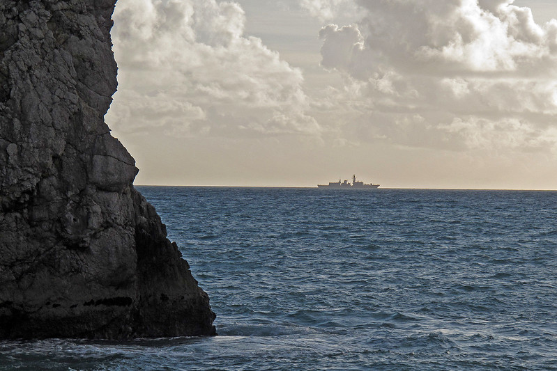 A Royal Navy Type 23 Frigate off Portland, taken from Durdle Door.