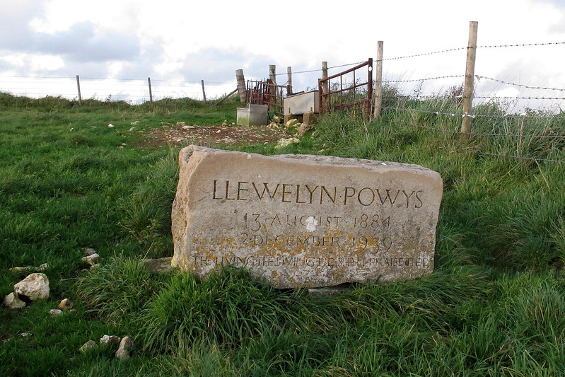 A memorial to Llewelyn Powys, despite his name born in Dorset, who was a renowned Dorset author from a prolific literary family.   He lived not far from this spot.