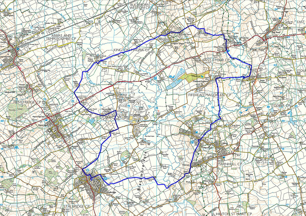 The actual route walked as recorded on my phone, anticlockwise from the marker in Stalbridge