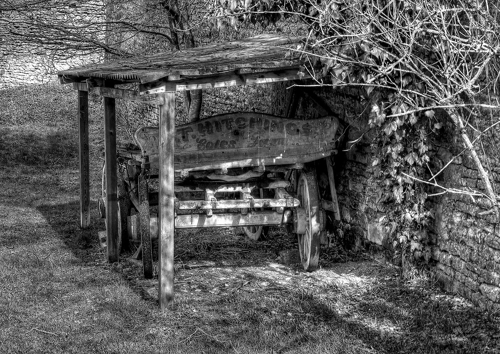 An old wagon given some shelter from the elements