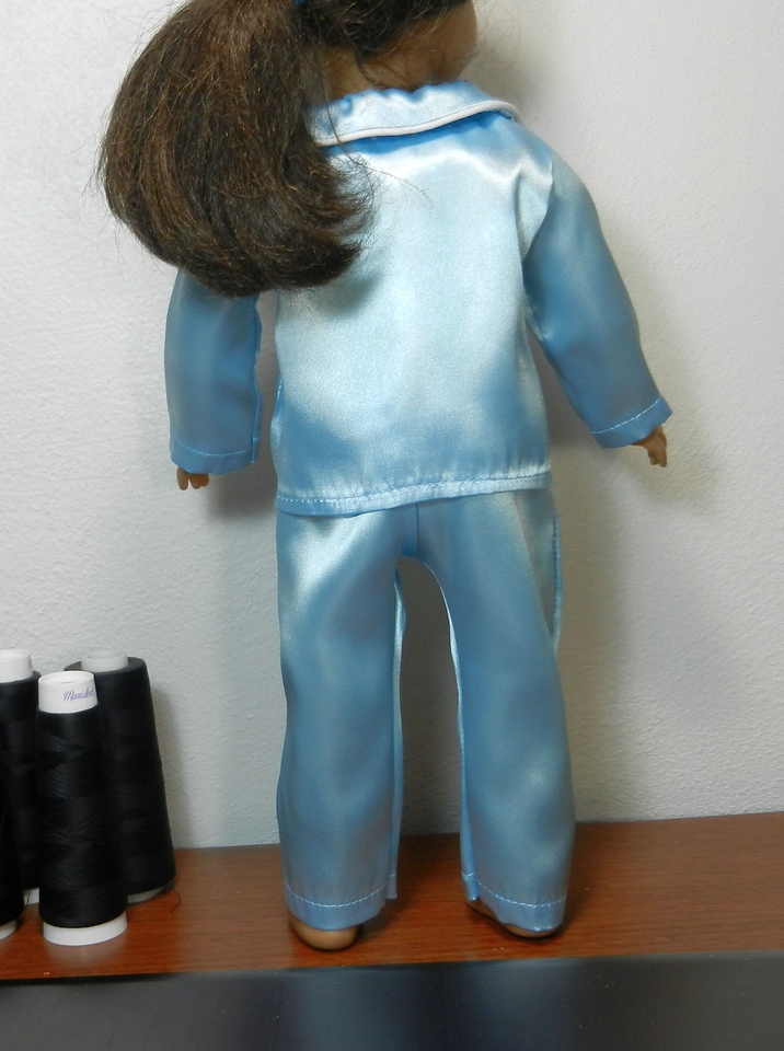 Lt Blue Satin Suit with Piped Notched Collar back w pants