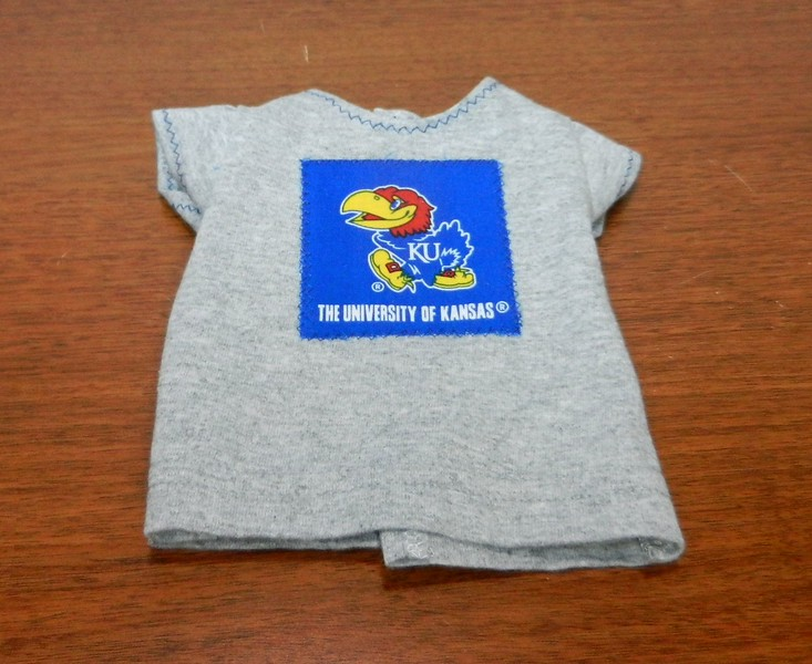 Gray tee with blue Jayhawk square - sample