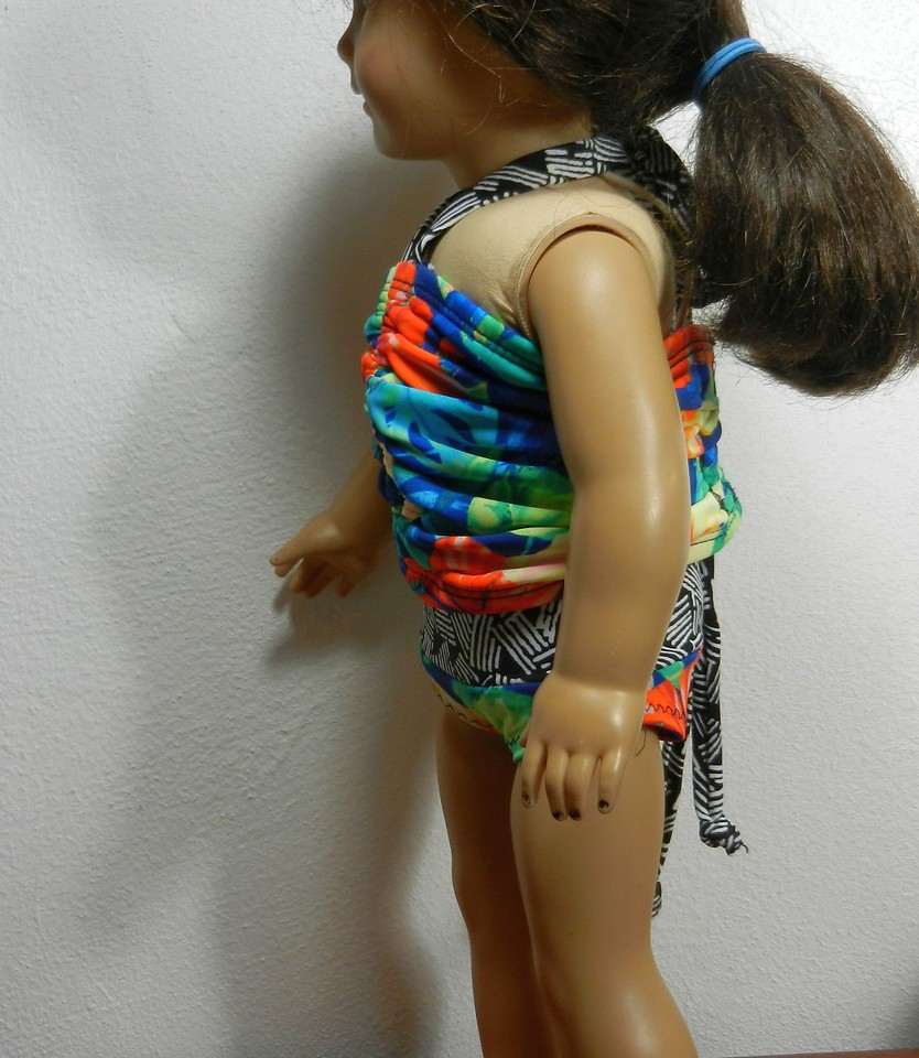 AG Blue & Orange Tropical Ruched 2-Piece Swimsuit other side