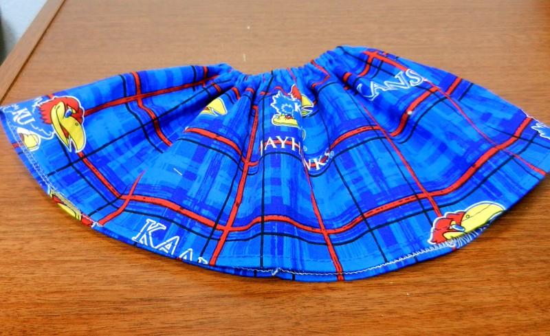 Sample of plaid KU skirt
