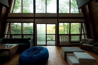 The living room looking towards Beaver Brook.
