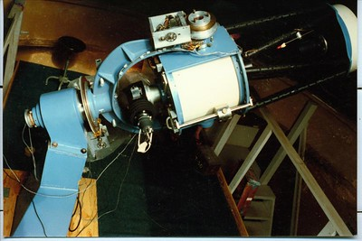 From this view we see the Decl. area of the mount and the wiring harness running along the fork. I can't remember why one wire is running down the tube towards the primary mirror at this time.  I believe this instrument may have been used for photometry as I remember.