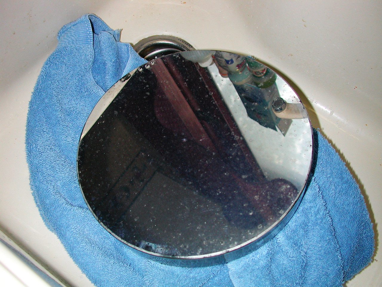 Original mirror before being cleaned.