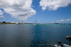Margot harbor - St. martin - Sailboats anchored in the harbor and dinghy's going back & forth