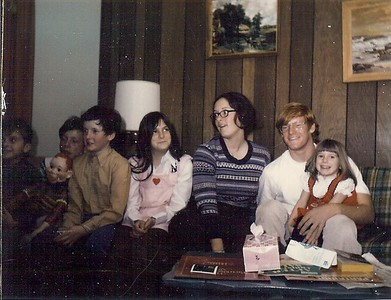 (L to R) Bruce Smith, Craig Nebeker, Ralph Smith, Lisa Nebeker, Vicky Nebeker, Mark Nebeker and Christy Nebeker; Christmas 1973 (Cousins)