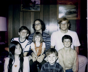 Top (L to R):  Craig Nebeker, Vicky Nebeker holding Christy Nebeker, Mark Nebeker. Bottom (L to R):  Lisa Nebeker, cousins Bruce Smith and Ralph Smith