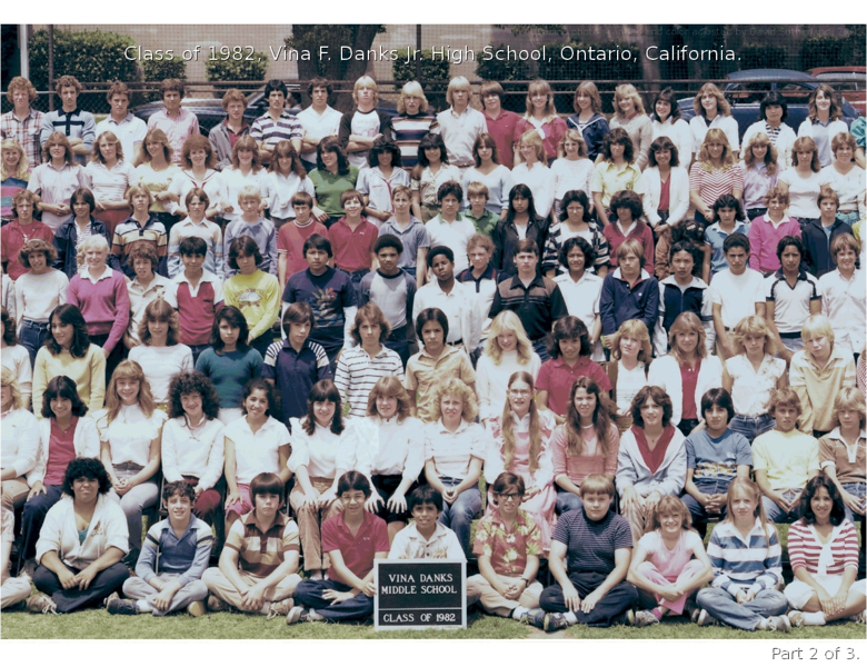 Vina F Danks Jr High School Class of 1982 Ontario California (Digitized and Color Corx 2002 by David Sutherland) wm 2 of 3 (Middle)