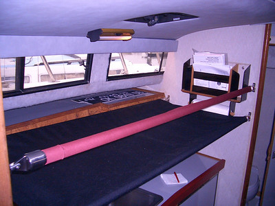 Stainless steel & heavy canvas pipe berth above galley (memory-foam mattress not shown)