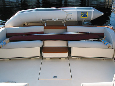 Aft cockpit seating & 11' Zodiac inflatable