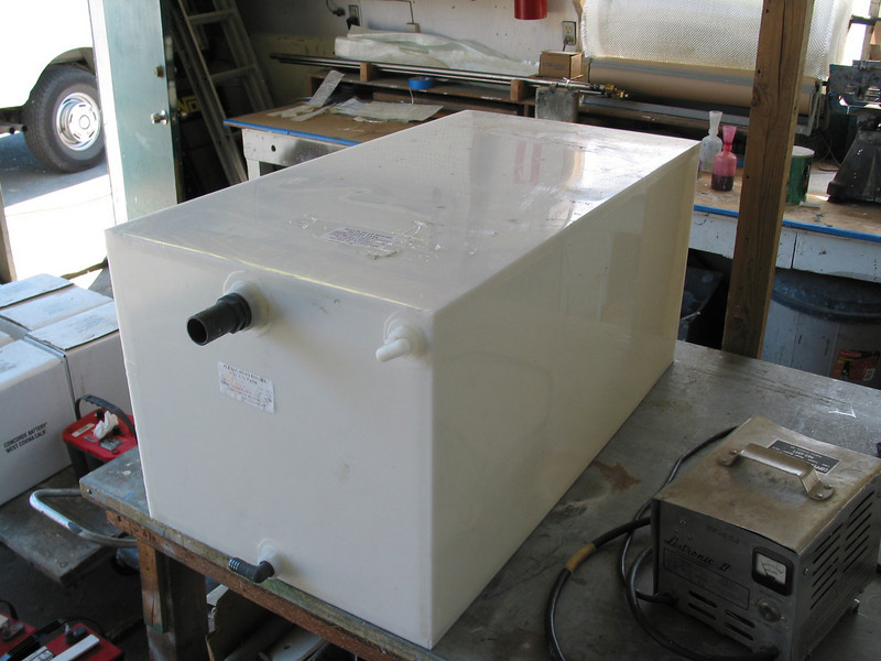 New 90 gallon cold water tank prior to installation