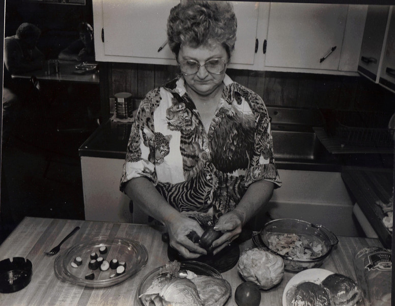 It's three meals a day for the crew of the CB Southern. Doris Parton, the boat's cook, mixes up a salad for dinner time. The cook is also trained in basic first aid in case of emergency.