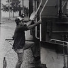 Since not all businesses have a major river flowing through their backyards, ground transportation is utilized at the port. L. D. Straub of Union Pacific climbs aboard an engine at the island after a short break. Besides both being President's Island industries railroads and riverboats have another thing in common. They both use the same kinds of diesel engines.