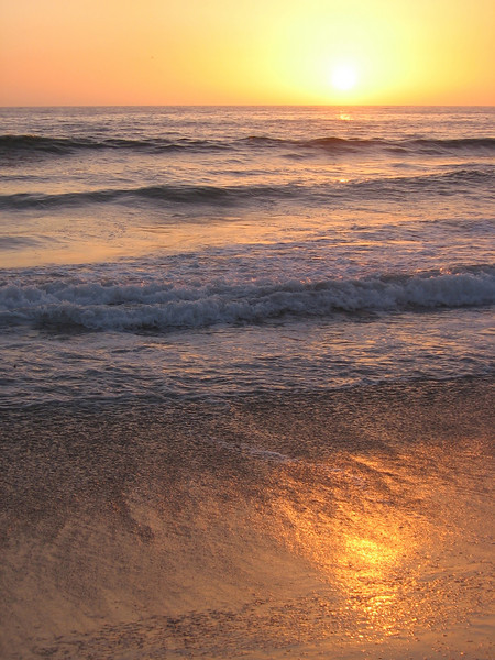 Pacific Ocean at sunset on the boardwalk