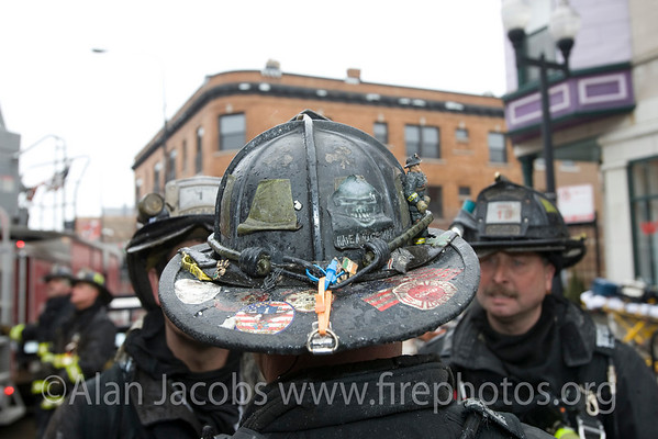 Squad 1 fireman Jay Lopez' chapeau... note little fireman on the right side of the dome.