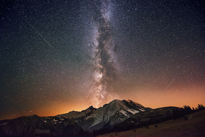 The Milky Way Rising Over Mount Rainier