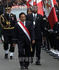 Peru : El Presidente Peruano Alejandro Toledo llega al Congreso de Lima para tomar parte de las celebraciones por el Aniversario de la Independencia del Peru, Julio 28, 2002 / Peru: Peruvian President Alejandro Toledo walks to take part in Peru´s Independence day celebrations, July 28, 2002.     Toledo apologized for blunders in his first year in office and told his disillusioned compatriots to be patient, despite more fiscal austerity measures on the way / Peru: Präsident Toledo. <br /> © Eitan Abramovich/LATINPHOTO.org