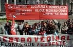 Argentina :  Partido Socialista Democratico. sub centro. transparente. / socialistic political party. banner. / Argentinien: Anh�nger der Sozialdemokratische Partei mit einem Transparent. / ...