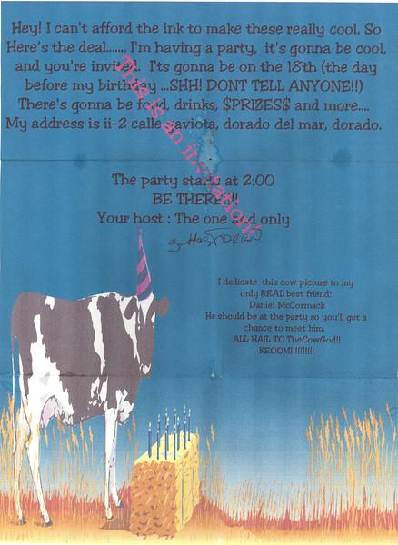 Bryan's 15th birthday invitation (where it all began)
