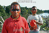 Brasil-Amazonia:  Miembros de la tribu Deni en el Rio Amazonas , Agosto 2003 .   Chicoscon la cara pintada. .  /Brazil-Amazonia: Indigenous from the Deni tribe at Amazonas River, August 2003. Beach. Sand.Children with their faces painted. / Brasilien :   Eingeboren am Amazonas Fluss. (DIGITAL IMAGE) <br /> © Angelo Lucas/LATINPHOTO.org