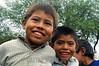 Paraguay : Ninos indigenas al costado de su casa . Comunidad NEPOXEN del chaco paraguayo . /  Paraguay : indigenous. children. Members of the epoxen community in the middle of a typical dance. Paraguayan Chaco. drum. music. musician.  / Paraguay : Indigene ethnische Bevölkerung im Chaco. Kinder. Jungen.<br /> ©  Amadeo Velazquez/LATINPHOTO.org