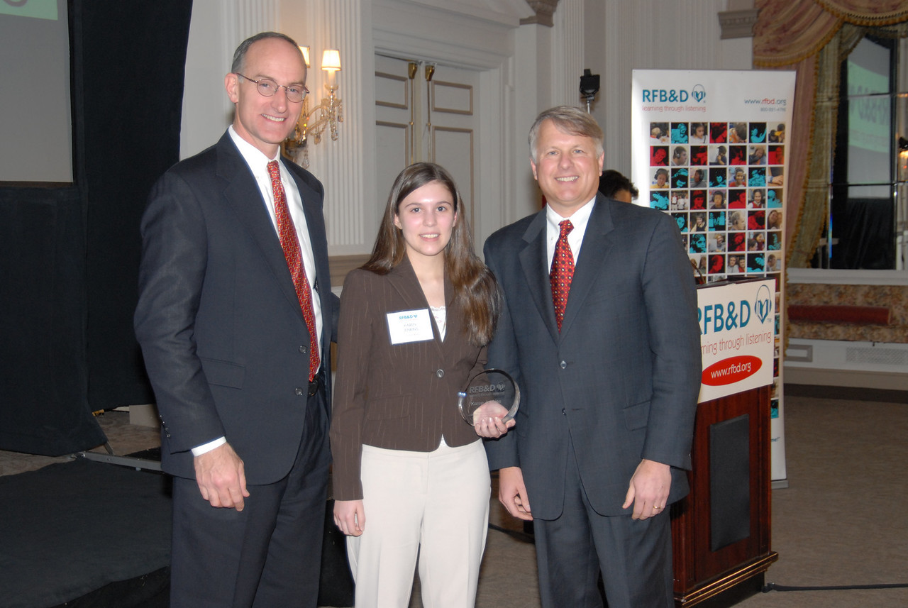 """Karen Jenkins<br /> <br /> OLENTANGY HIGH SCHOOL GRADUATE HONORED AS 2005 NATIONAL ACHIEVEMENT AWARD WINNER BY RECORDING FOR THE BLIND & DYSLEXIC®<br /> Galena, OH, resident is recognized at national nonprofit's awards celebration in Washington, DC<br /> <br /> February 10, 2006 (Washington, DC) – While in elementary school, Karen Jenkins, of Galena, OH, experienced nothing but frustration as she struggled with dyslexia. """"I had trouble learning how to read, write, spell and learn math,"""" she recalls. Despite her difficulties, Jenkins graduated near the top of her class at Olentangy High School with a GPA of 4.0. For that, and her extraordinary scholarship, leadership, enterprise and service to others, Jenkins was honored by Recording for the Blind & Dyslexic (RFB&D®) as one of three top winners of the 2005 Marion Huber Learning Through Listening® (LTL®) awards. RFB&D, a nonprofit organization, is the nation's educational library of recorded textbooks for students with visual impairment, dyslexia or other physical disabilities that make reading standard textbooks difficult or impossible.<br /> <br /> Jenkins told the gathering in Washington, DC, that she credits RFB&D with helping her achieve academic success. """"Without access to textbook recordings from RFB&D, I most certainly would not have been able to accomplish the academic goals I set for myself in high school, nor would I be here tonight to share my story.""""  <br /> <br /> Recommended by a school psychologist, RFB&D's audiobooks made all the difference to Jenkins, who had previously used the """"time-consuming"""" decoding method to read material for school, but quickly discovered that recorded textbooks greatly helped her keep up with and excel in advanced courses. The English chairperson at Jenkins' high school said she became the """"most academic student"""" in the class and had the highest grades of any other student in the English program. <br /> <br /> Jenkins was equally as impressive outside of the classroom, where """