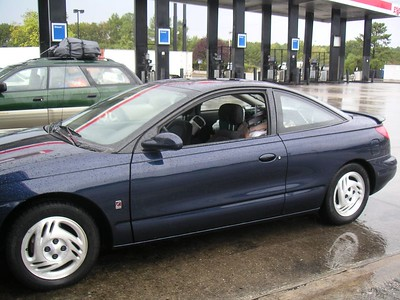 A stop for gas in Georgia after driving through the rain of tropical storm Tammy.