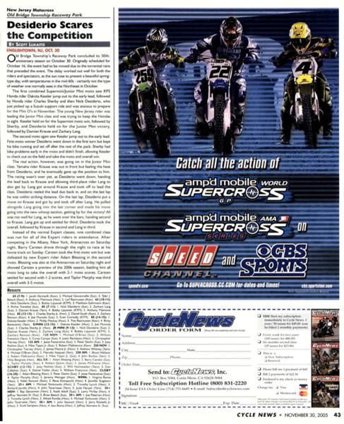 Cycle News, Raceway Park, 103005