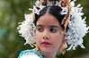 """Panama - Panama City: El """"desfile de las Mil Polleras"""" es tradional en la Ciudad de Panama, y en el participan los principales grupos culturales y etnicos del pais . La Polleras son el traje tipico de la mujer en Panama. cara. / Panama: Parade of the one thousan Polleras is traditional of Panama City and in it, he main cultural and etnic groups of Panama take parts in it.  The Polleras are the titpical female dress of Panama. Panama's folklore is fully expressed in its traditional dances, its colorful """"Pollera"""". / Panama: Frauen tragen die Nationatracht Pollera. Folklore. Tracht. Gesicht. Portrait. Kopfschmuck. Geschminkt. Mädchen.  © Tito Herrera/LATINPHOTO.org"""