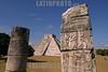 """Mexico - Yucatan , Mex .- Zona arqueologica de Chichen Itza, en el estado de Yucatan donde cada ano durante el equinoccio de solar de primavera y otono un efecto de sombras simula el descenso de kukulcan a la tierra desde la piramide principal denominada """"el castillo"""", ademas es considerado la capital regional mas importante del area maya en los anos 750 a 1200 D.C., destacan las construcciones del """"juego de pelota"""", el """"templo de los guerreros"""", un observatorio astronomico llamado """"el caracol"""" y el """"cenote sagrado"""" donde se sabe que los mayas sacrificaban a doncellas como ofrenda a los dioses. Chichen Itza se ubica a 120 kilometros de Merida, la capital del estado. / Mexiko: Chichen Itza. AusgrabungsstŠtte. Maya-Stadt. Tourismus."""