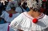 """Panama - Panama City: El """"desfile de las Mil Polleras"""" es tradional en la Ciudad de Panama, y en el participan los principales grupos culturales y etnicos del pais . La Polleras son el traje tipico de la mujer en Panama.  / Panama: Parade of the one thousan Polleras is traditional of Panama City and in it, he main cultural and etnic groups of Panama take parts in it.  The Polleras are the titpical female dress of Panama. Panama's folklore is fully expressed in its traditional dances, its colorful """"Pollera"""". / Panama: Frauen tragen die Nationatracht Pollera. Folklore. Trachten.  © Tito Herrera/LATINPHOTO.org"""