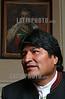 Bolivia : El Presidente Evo Morales Ayma es el primer presidente indigena de America Latina , llego al poder en Bolivia en el ano 2005 en un hecho sin precedente en la politica Boliviana con el 54 por ciento - 17 de julio - La Paz / President Evo Morales Ayma is the first indigenous president of americas America, came to power in Bolivia in 2005 in an act without precedent in Bolivian politics with 54 percent - july 17 - La Paz / Bolivien: Der bolivianische Präsident Evo Morales Portrait © Alejandro Azcuy/LATINPHOTO.org