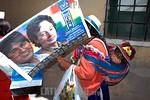 Bolivia : Acto de cierre de campana presidencial del MAS de Evo Morales mujer indigena con ninos / presidencial close act for de MAS of Evo Morales / Bolivien: Indigene Anh�nger des Pr�sid ...