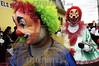 Guatemala : Un payaso recorre las calles de Villa Nueva , Guatemala en el conocido desfile de Fieros, este convite tenia como fin protestar contra los espanoles que vivian en la region en la epoca colonial, ya que los pobladores indigenas fueron desplazados por los colonos a otra region vecina, ahora esta actividad es considerada una tradicion en la region / Guatemala: clowns customs and traditions / Guatemala: Clown Karneval Fasching © Jesus Alfonso/LATINPHOTO.org