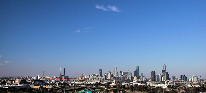The Melbourne skyline - seen from the Westgate Bridge.