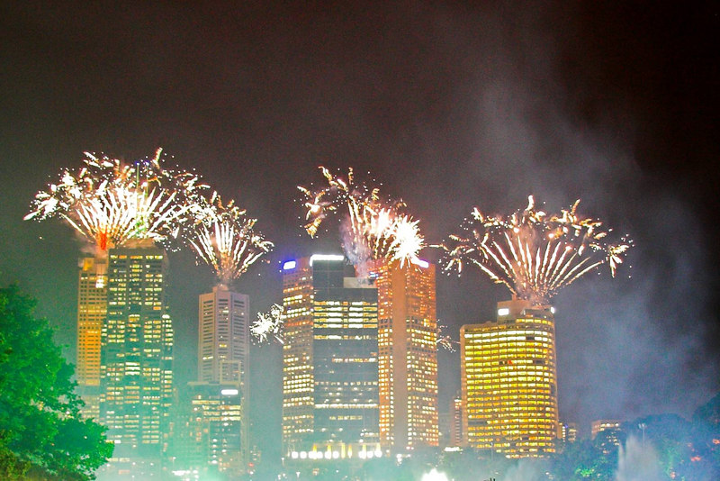 Fireworks were expected: but we weren't expecting them to errupt from the top of the city builidings.