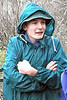 Andrew, feeling the cold in the rain/hail/snow at Dickson's Falls.