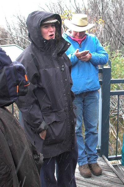 Rachel, (and Peter) in the rain/hail/snow at the Dickson's Falls lookout. (Look closely at the white streaks in this photograph.)