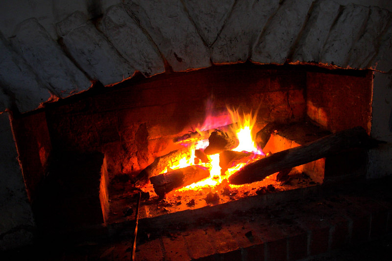 One of the two fires in the Stone Hut.