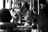 Chile : Parte de un recorrido urbano por el centro y por el transporte Publico de Santiago de Chile. Personajes y circunstancias q suceden cada dia en esta capital donde el Stress y la competencia laboral marcan el dia a dia . / children. traffic. bus. / Kinder in einem Bus. (B/W) © Claudio Cortes Veroiza/LATINPHOTO.org