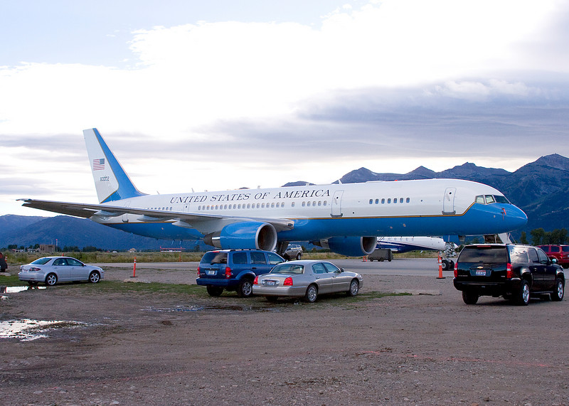 Dick Cheney's air plane at the Jackson Hole, WY airport.  He has a home there.