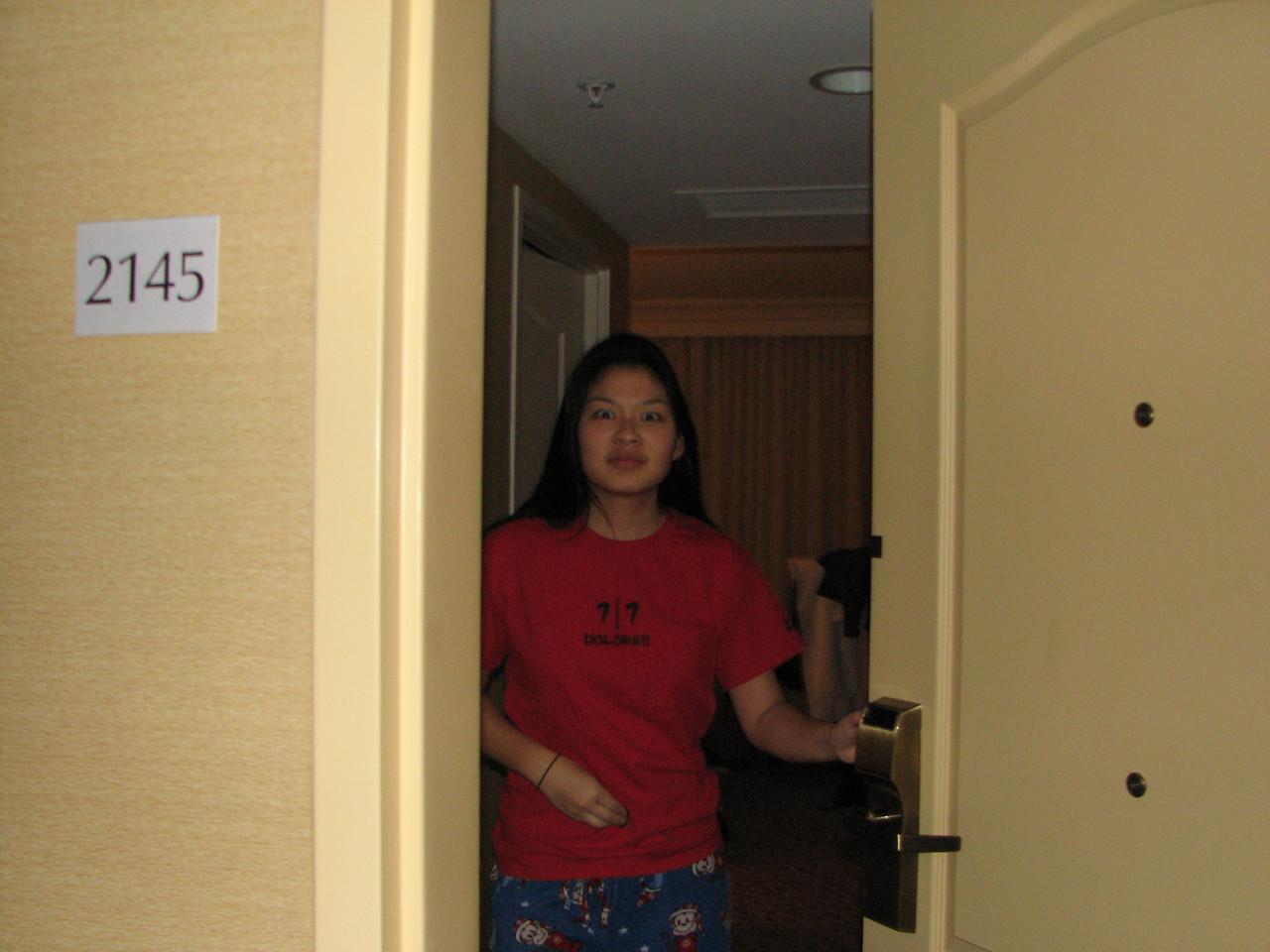 2007 02 19 Mon - Jenn Kim caught in Esther Kang's room